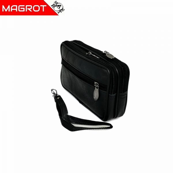 Borseta mica de mana si curea din piele naturala,negru, Magrot 6809