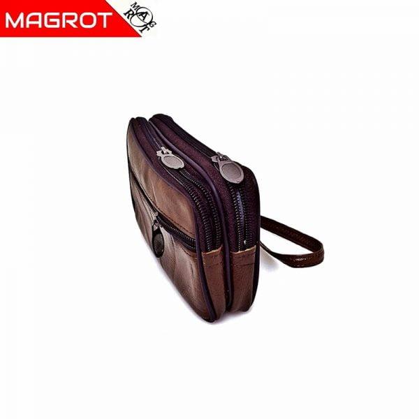 Borseta mica de mana si curea din piele naturala,maro deschis, Magrot 6809