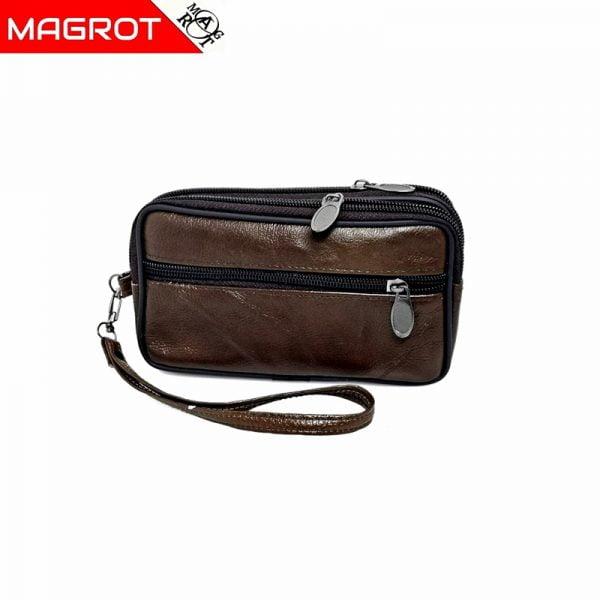 Borseta mica de mana si curea din piele naturala,maro brun, Magrot 6809