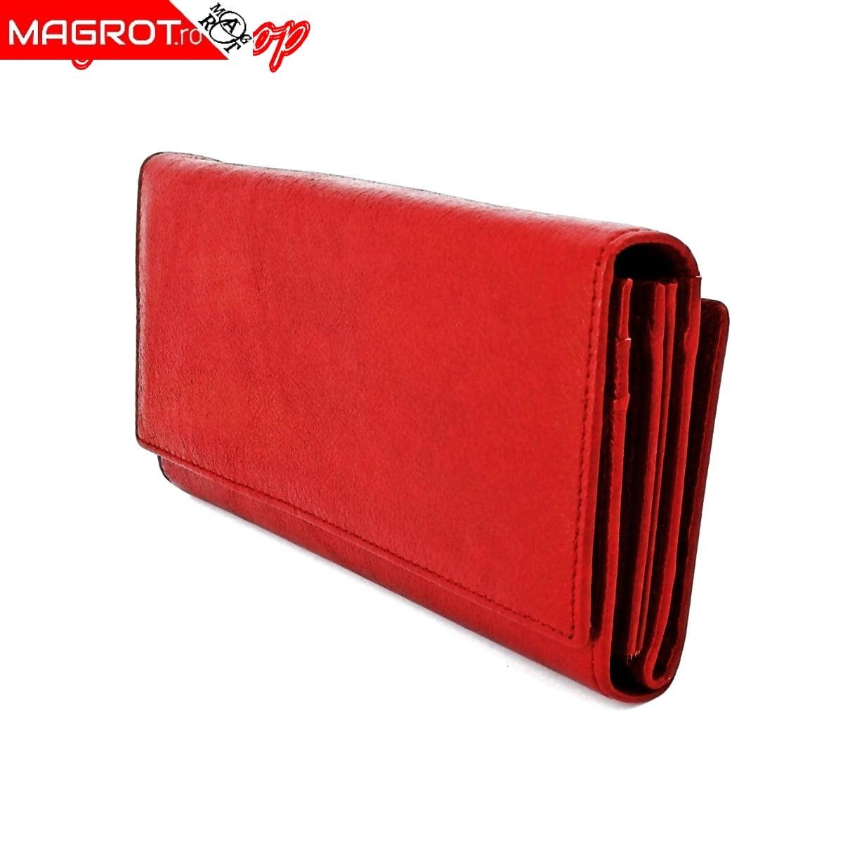 Portofel de dama, red, din pioele naturala 18/10, Magrot A05 Cod produs: 13941