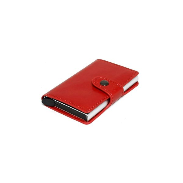 Port card rosu, unisex,7 carduri cu protectie RFID, Magrot 967