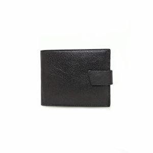 Portofel din piele naturala, negru, magrot, cu capsa, Gold Life 977
