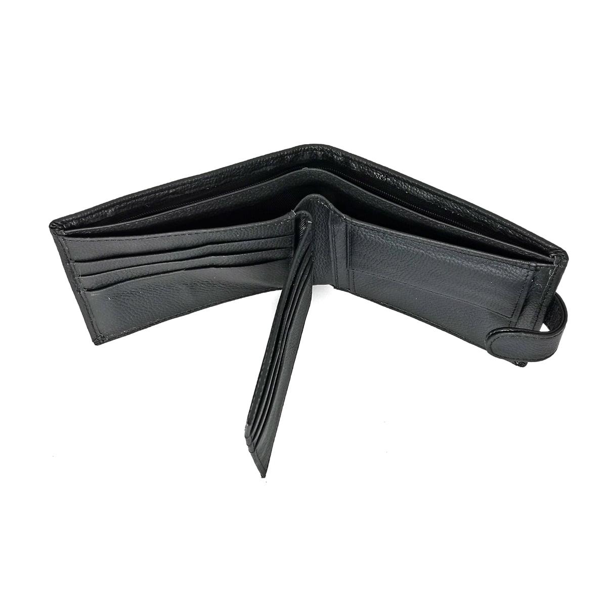 Portofel barbatesc, cu capsa, din piele naturala, negru, 12,5/9,8 cm, Magrot 012