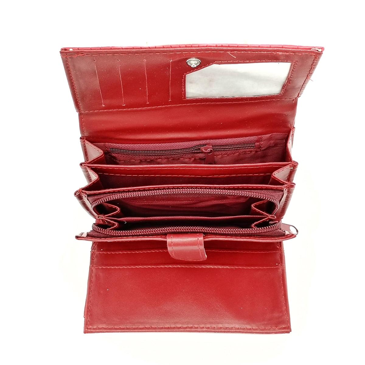 Portofel dama, lacuit, visiniu, buzunar mare lateral,,din material sintetic,15/10 cm, Magrot 4014