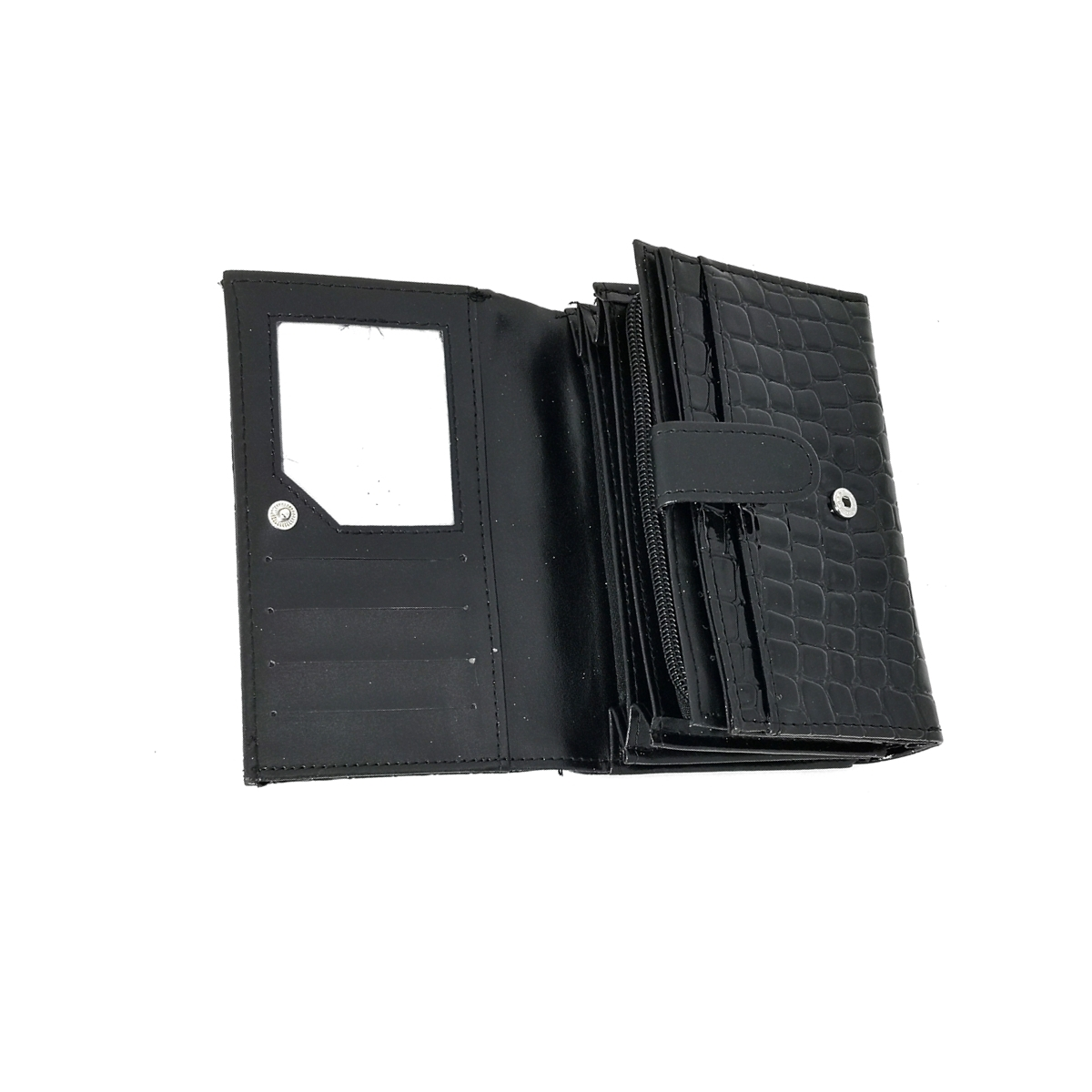Portofel dama, lacuit, negru, buzunar mare lateral,,din material sintetic,15/10 cm, Magrot 4015