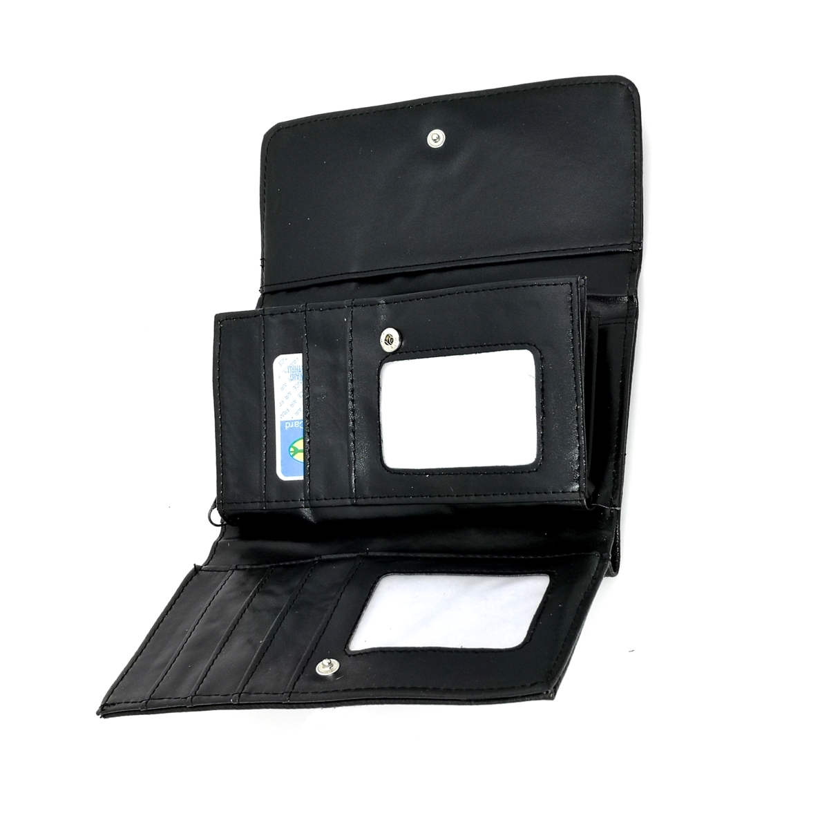 Portofel dama, negru, cu buzunar mare lateral pentru bancnote, din piele ecologica, 18/10 cm, Magrot017