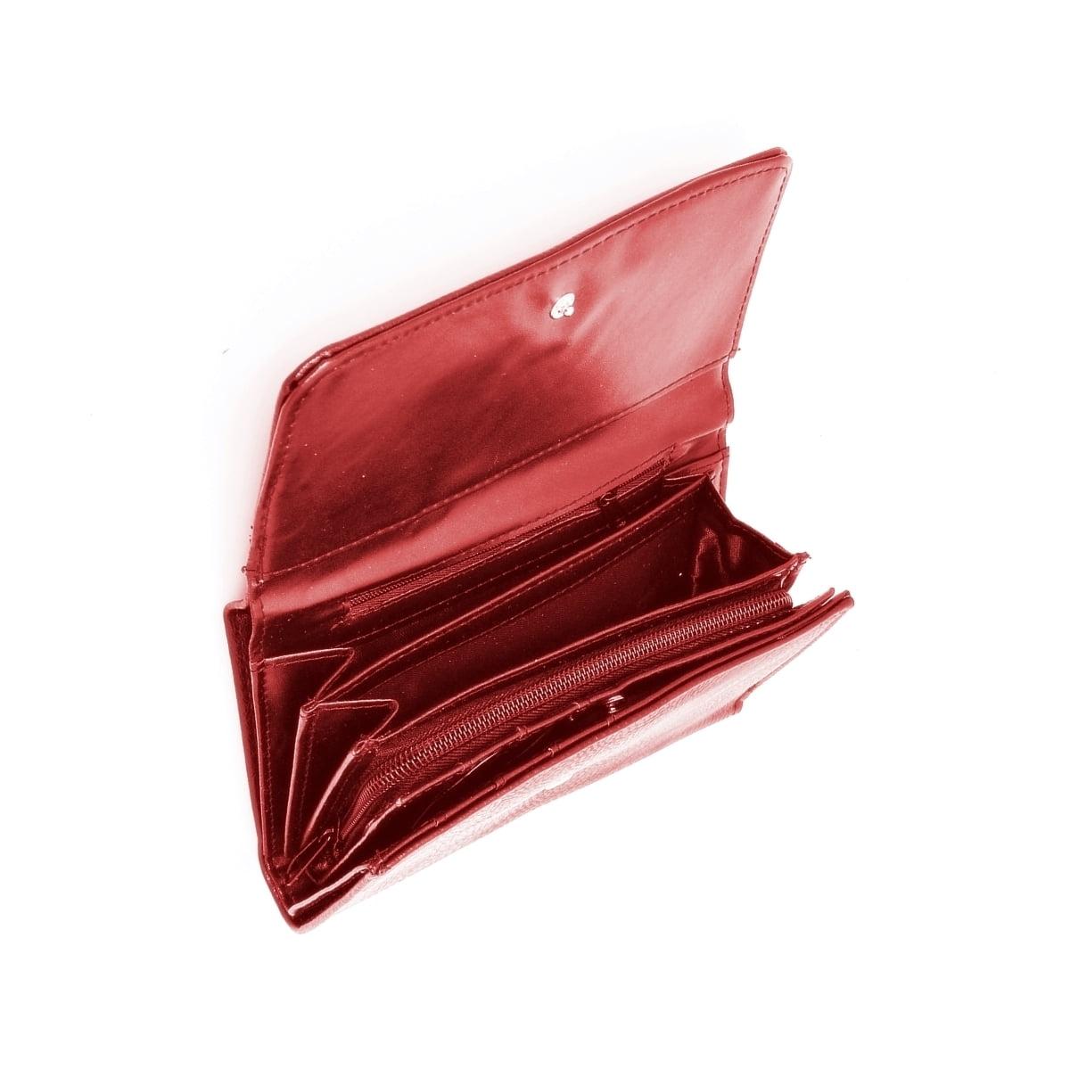 Portofel dama, rosu, cu buzunar mare lateral pentru bancnote, din piele ecologica, 18/10 cm, Magrot 021