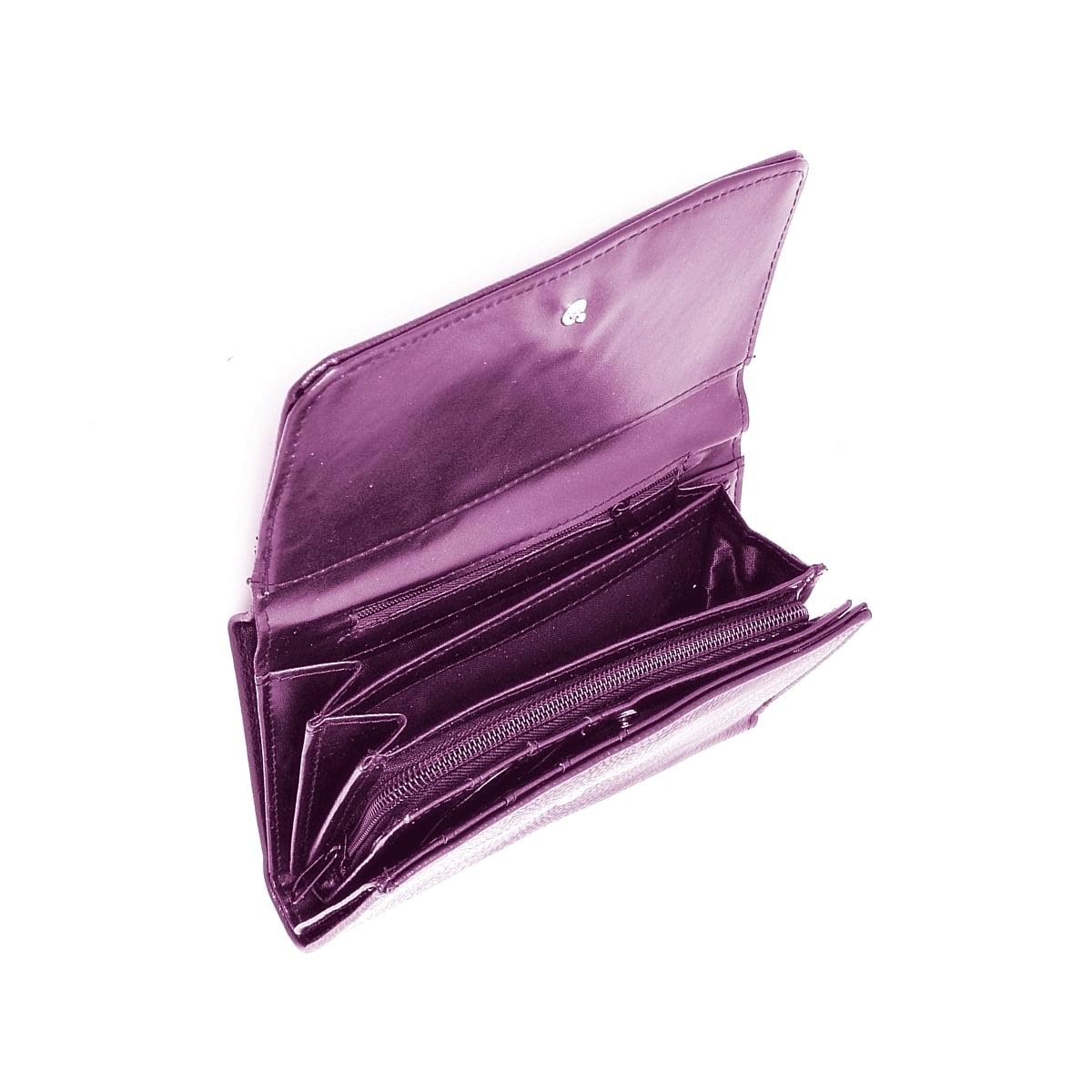 Portofel dama, mov, cu buzunar mare lateral pentru bancnote, din piele ecologica, 18/10 cm, Magrot 022
