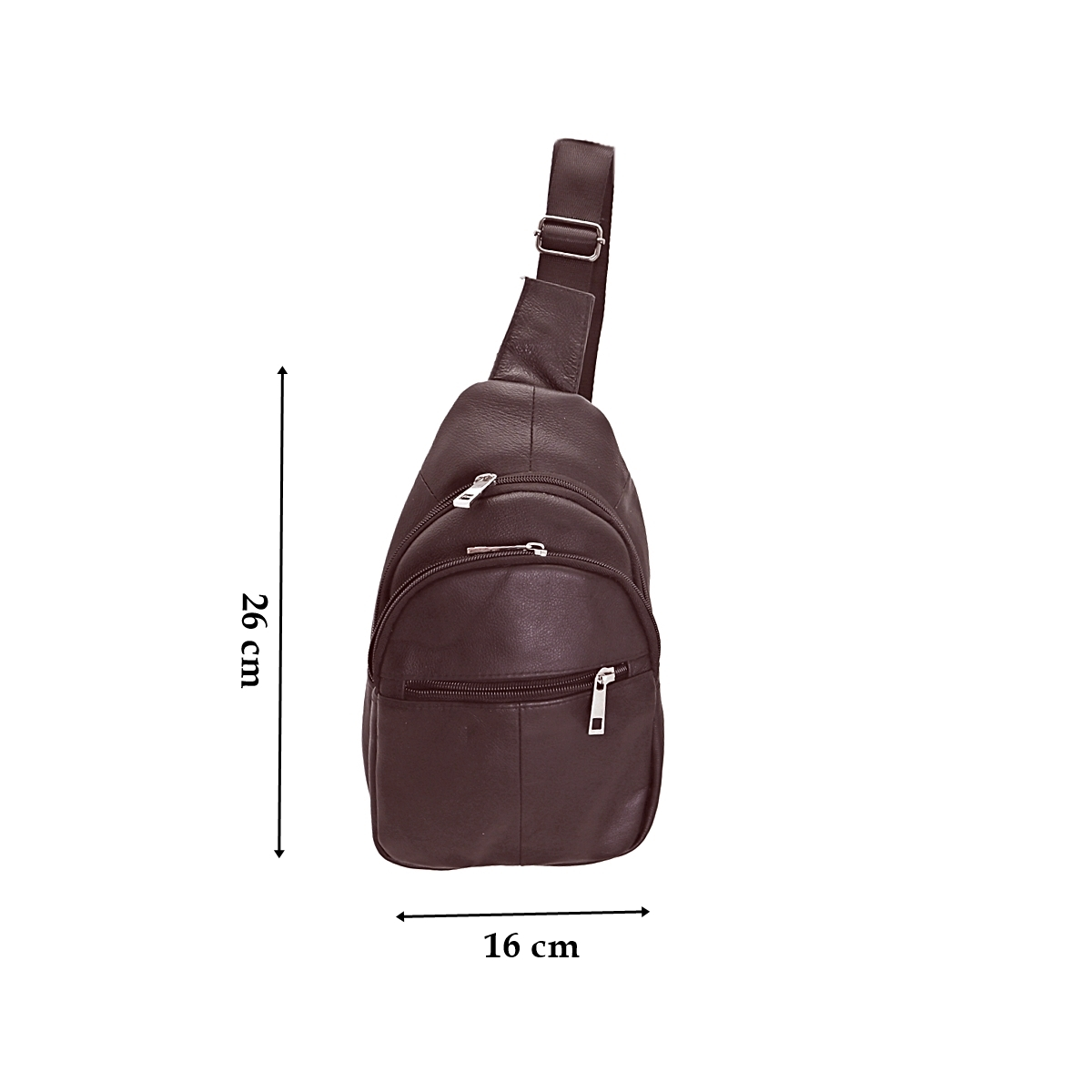 Borseta din piele naturala, bareta de umar, pe o parte, maro, 26/16, Magrot 025