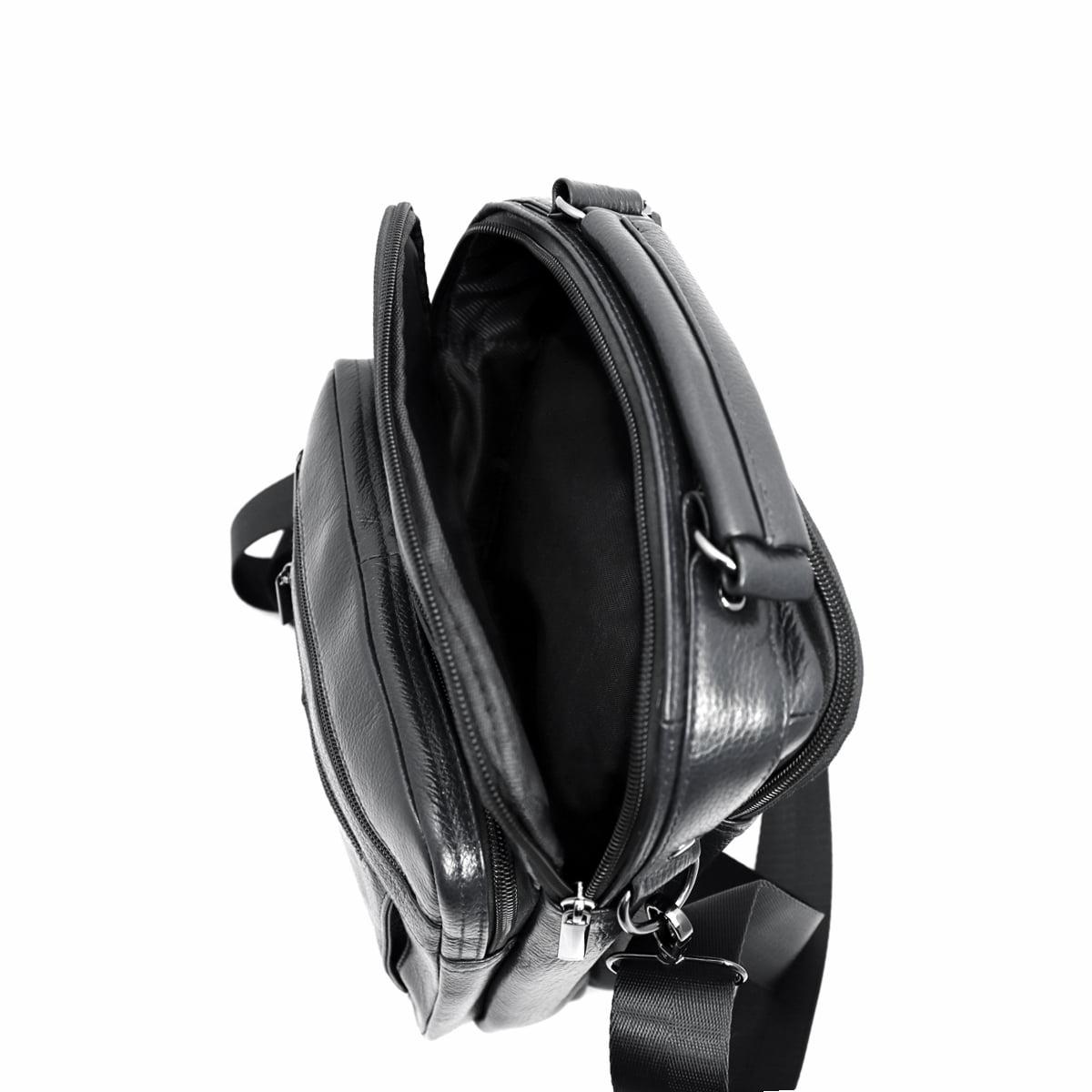 Geanta din piele naturala de mana si umar, Magrot 7057,,culoare negru