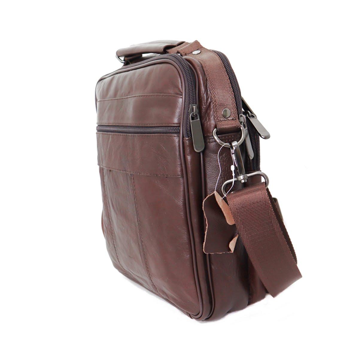 Geanta / Borseta barbateasca de umar si mana, din piele naturala, maro brun, 26/22 cm, Magrot 6105