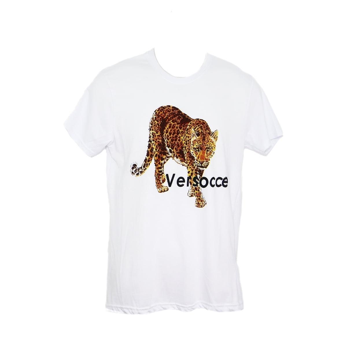 Tricou Versocce, cu strasuri leopard alb