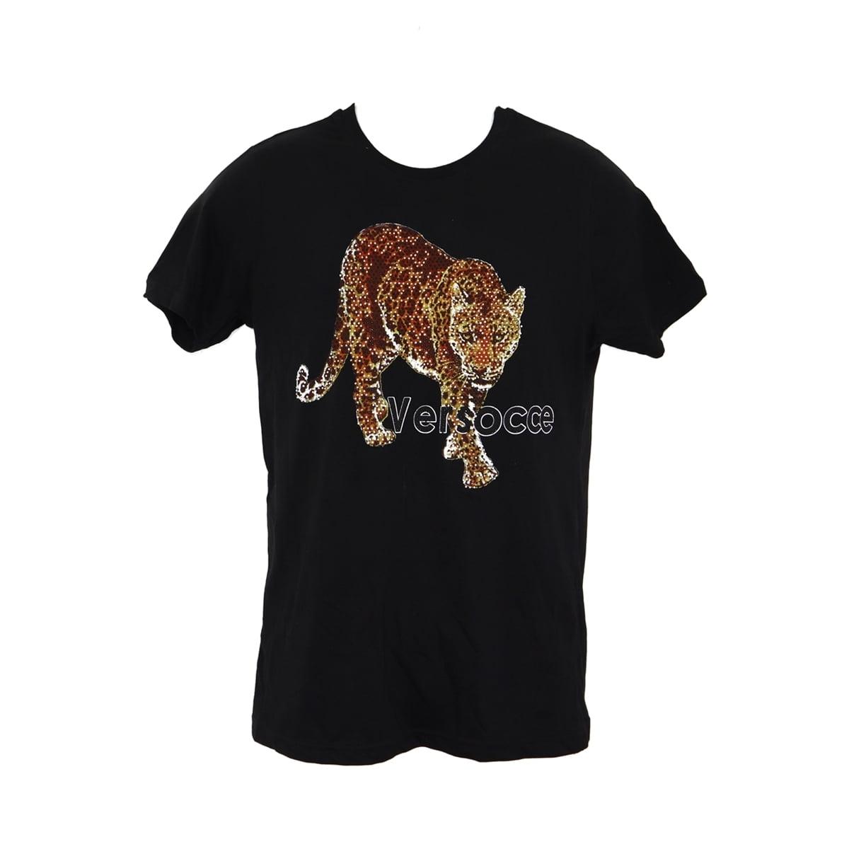 Tricou Versocce, cu strasuri leopard negru