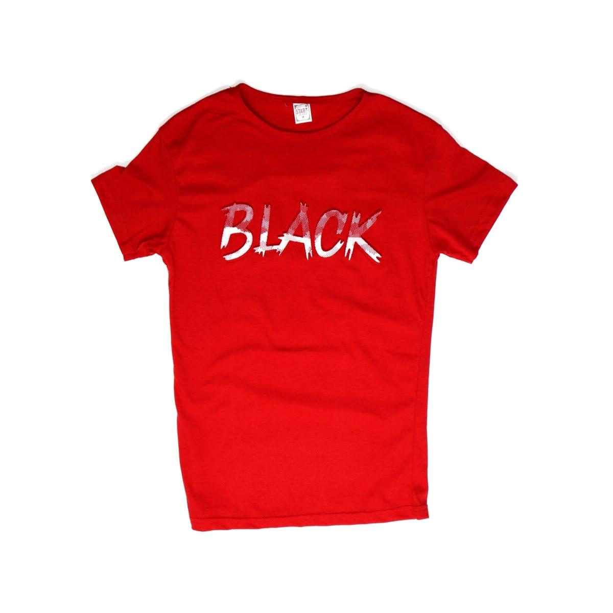 Black,Tricou barbatesc din bumbac 100% rosucu imprimeu in relief black 038