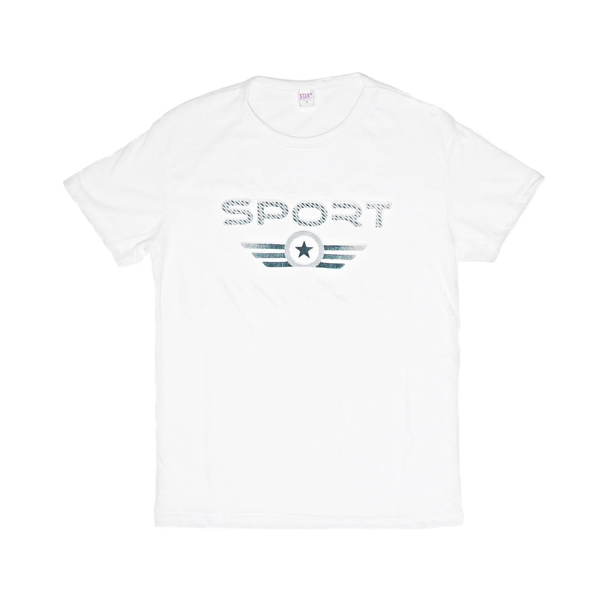 Sport,Tricou barbatesc din bumbac 100% alb cu imprimeu in relief sport 040