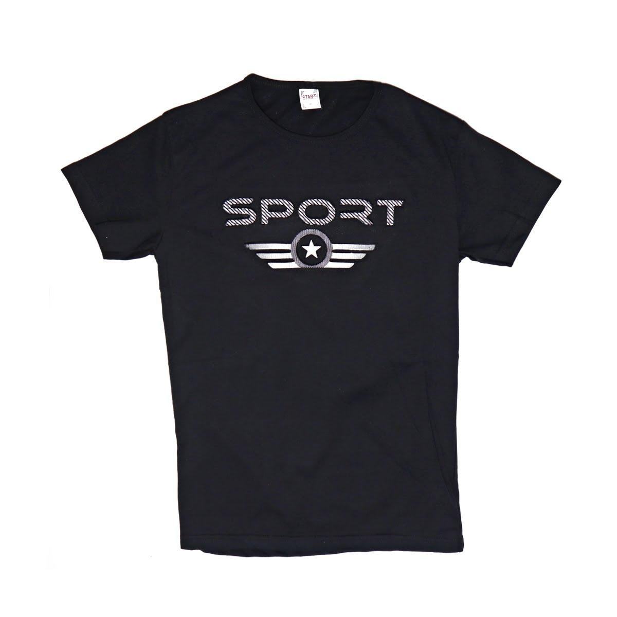 Sport,Tricou barbatesc din bumbac 100% negrucu imprimeu in relief sport 041