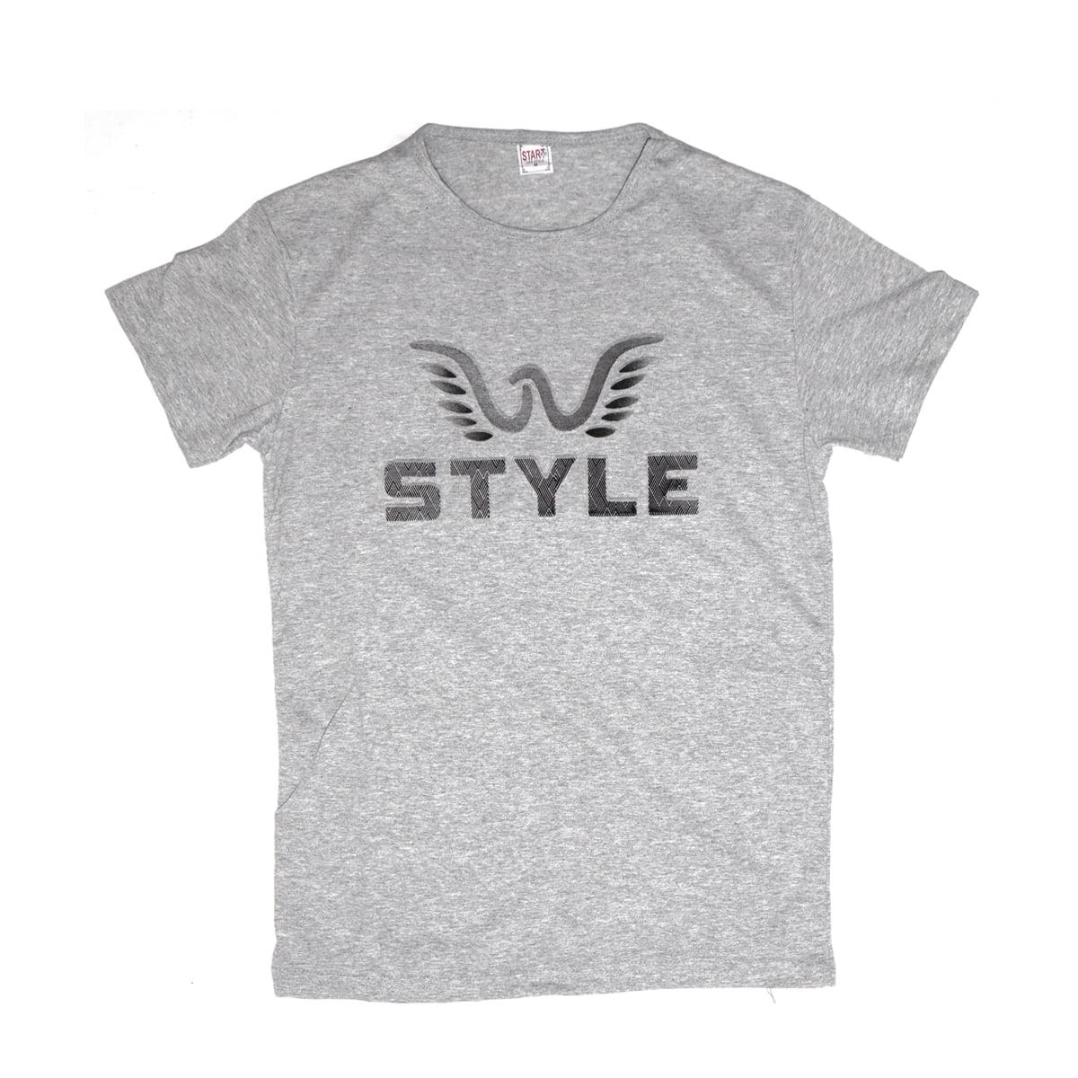 Style,Tricou barbatesc din bumbac 100% gri cu imprimeu in relief style 042