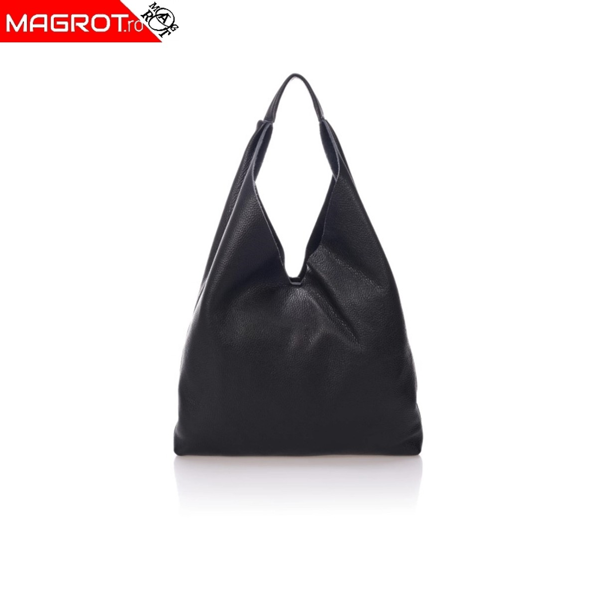 Geanta de umar de tip hobo pentru femei din piele naturala, neagra, Magrot 001