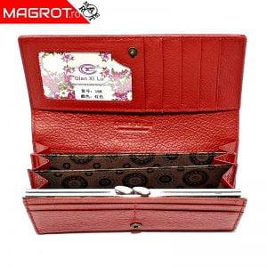 Portofel dama, din piele naturala, Qianxilu, rosu, 3 zone bancnote si clips maruntis, 18 x 9.5