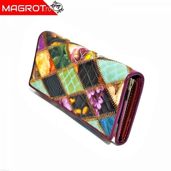Portofel de dama, multicolor din piele naturala lacuita, magrot, 163