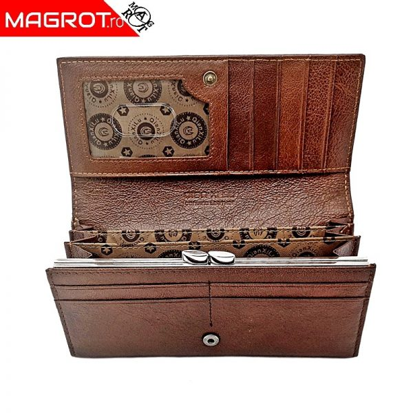 Portofel dama din piele naturala,Qianxilu, maroeste un portofel original QIAN XI LU realizat din materiale de cea mai buna calitate