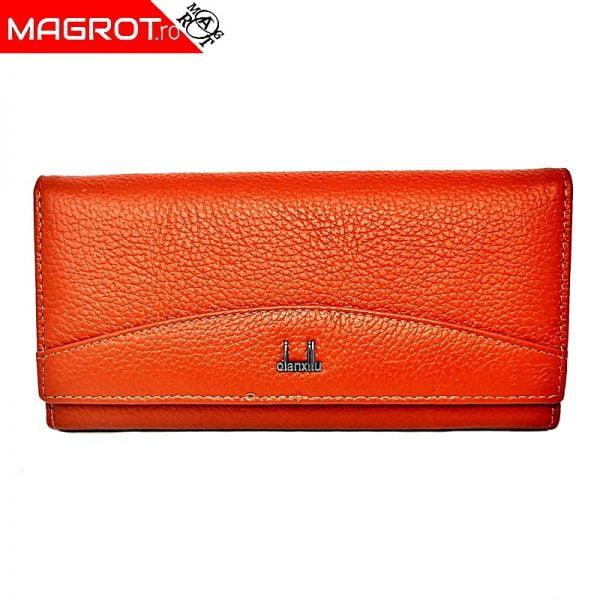 Portofel dama din piele naturala, Qianxilu, portocaliueste special pentru dumneavoastra sau pentru un cadou deosebit