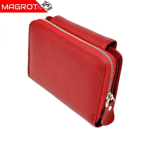 Portofel de dama,mic rosu, Qian Xi lu, din piele naturala, doua zone de deschidereeste un portofel mic slim .
