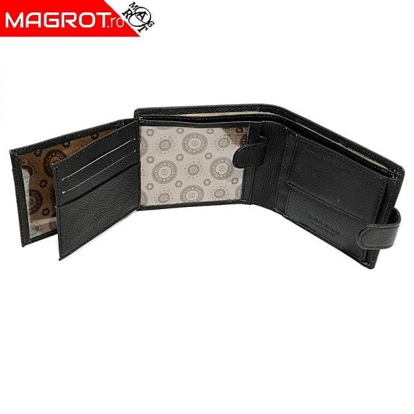 Portmoneu / portofel din piele barbatesc, Qianxilu, negru, cu ferestre pentru documente. clsic si la moda intotdeauna.