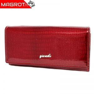 Portofel dama din pielenaturala lacuita pentru dama rosu, este original Qian Xi lu, este un portofel modern si elegant
