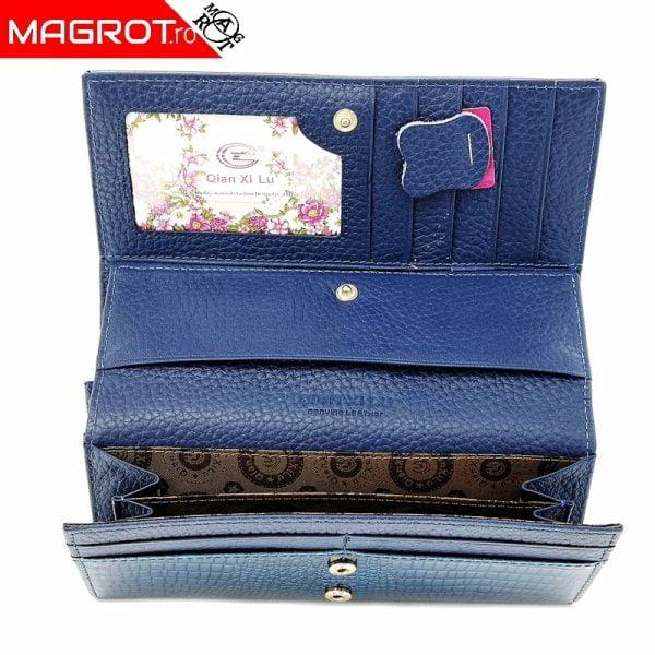 Portofel dama din pielenaturala lacuita pentru dama albastru, este original Qian Xi lu, este un portofel modern si elegant