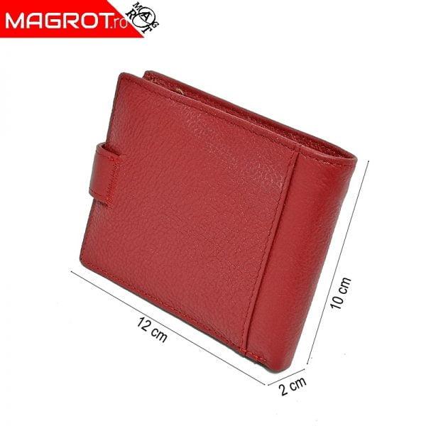 Portofel rosu 107-wk din piele naturala original magrot QIANXILU, ideal de purtat zi de zi incapator poate fi un cadou oferit celor dragi