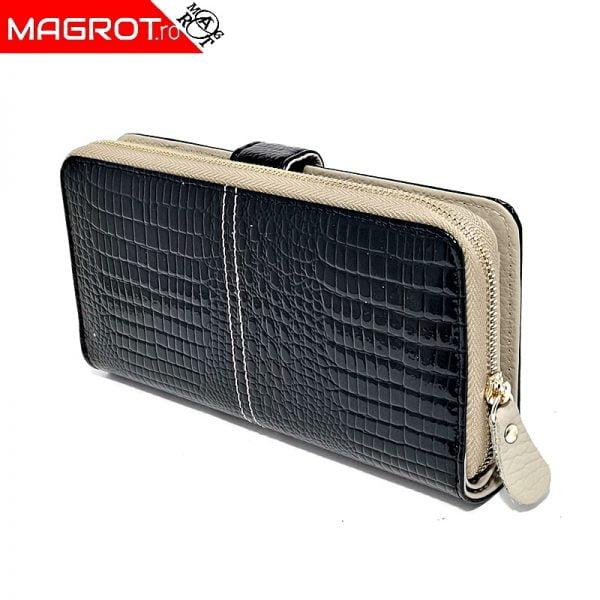 Portofel dama 1051 Black din piele naturala lacuita, original Qian, \ un portofel modern,,poate fi purtat zi de zi sau la ocazii. Vezi OFERTA