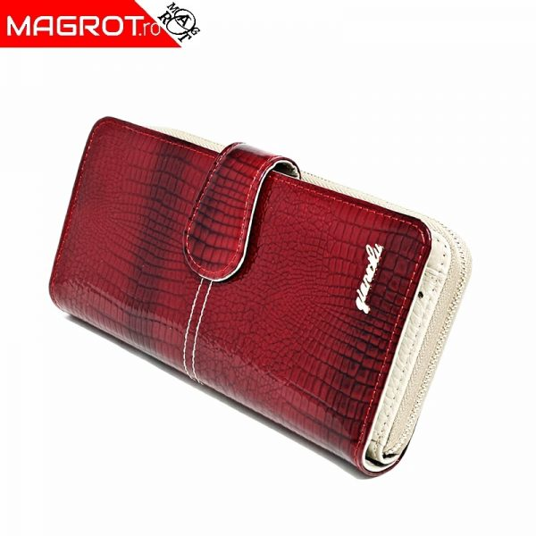 Portofel dama 1051 red din piele naturala lacuita, original Qian Xi lu, este un portofel modern si elegant perfect pentru ocazii sau cadou.