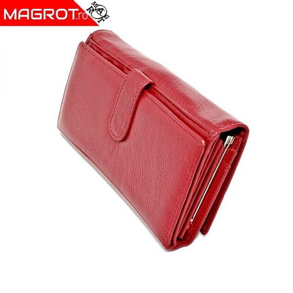 Portofel dama A-04 red original Hassion A-04 cu doua zone distincte din piele naturala veritabila Poate fi un accesoriu elegant sau un cadou.