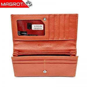 Portofel dama 1519 orange, original HASSION, cu trei zone distincte din piele naturala veritabila, este un portofel elegant, un cadou minunat