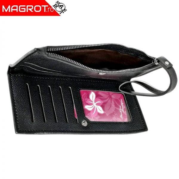 Borseta portofel slim cu spatiu separat pentru carduri si documente care se inchide cu capsa. Acceseaza acum Oferta!