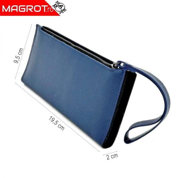 Borseta/portofel de dama slim cu spatiu separat pentru carduri si documente care se inchide cu capsa. Portofelul/ borseta are dimensiuni mici si poate fi purtat in aproape toate tipurile de genti