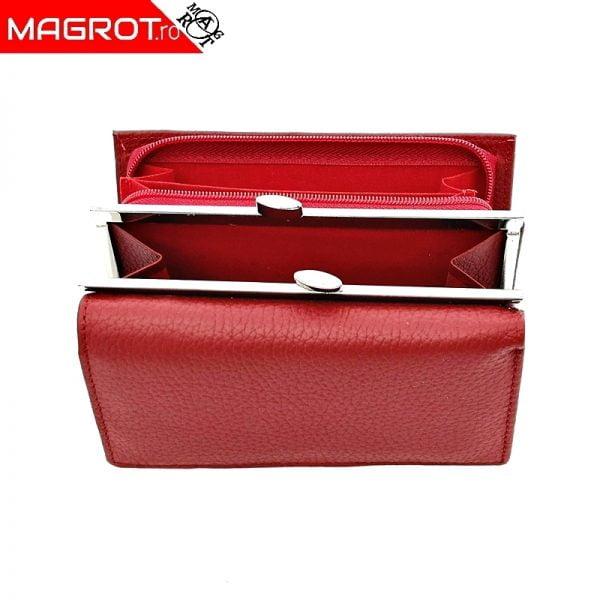 Portofel mic de dama din piele naturala, magrot Hassion, 2155, red
