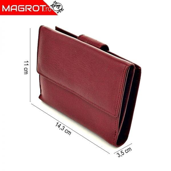 Portofel dama, din piele naturala, J017 red, Magrot Hasssion.
