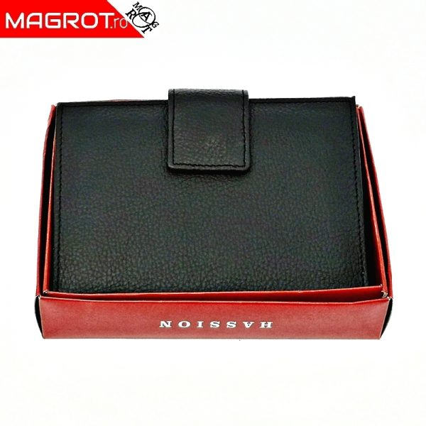 Portofel dama, din piele naturala, J017 black, Magrot Hasssion.