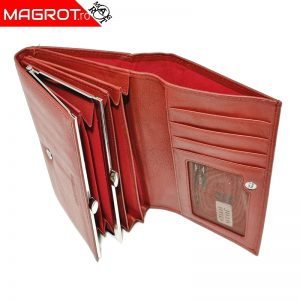 Portofel dama, din piele naturala, J016 Red, Magrot Hasssion.