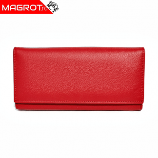 Portofel de dama, Magrot din piele naturala, 158 red