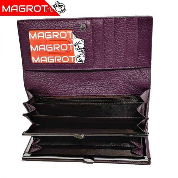Portofel de dama, Magrot din piele naturala, 158 purple