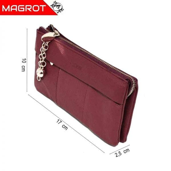 Borseta portofel dama din piele naturala, visiniu, Hassion,,5025 red