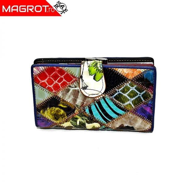 Portofel mic, de dama, multicolor, din piele naturala lacuita, magrot 822