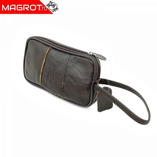 Borseta mica de mana, Magrot, din piele naturala, maro 2305