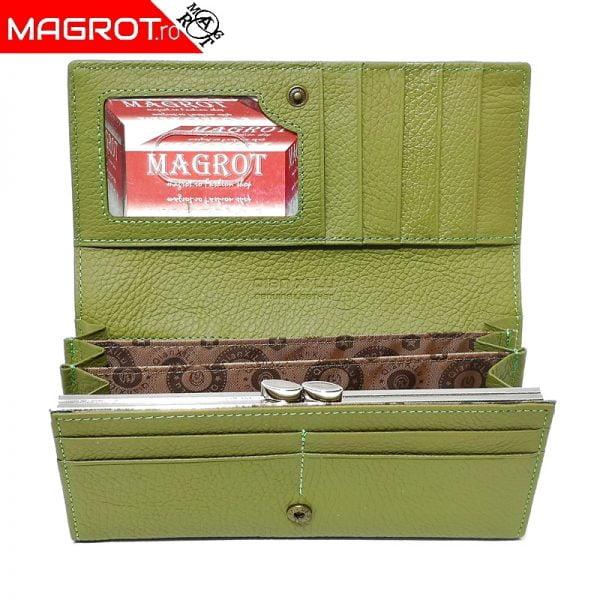 Portofel dama, din piele naturala, Qianxilu, verde deschis, 3 zone bancnote si clips maruntis, 18 x 9.5