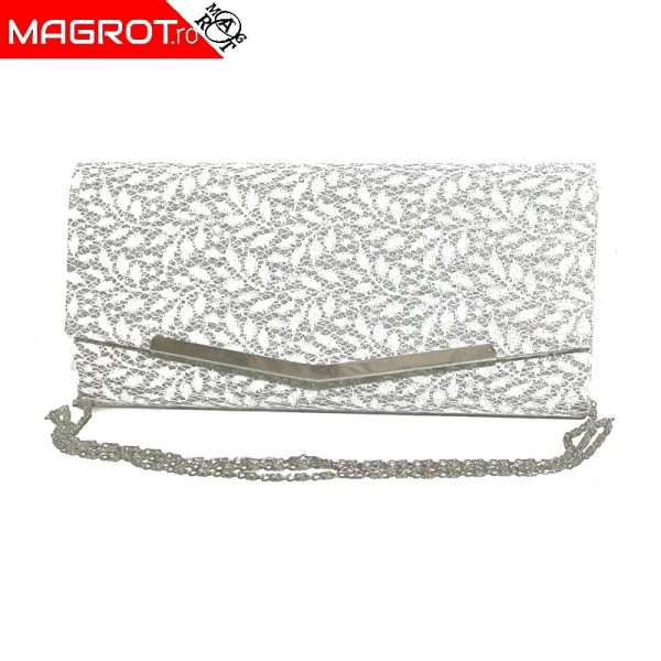 Geanta plic pentru ocazii, alb, 24/12 cm, Magrot, H-1967
