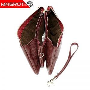 Borseta portofel dama din piele naturala, visiniu, Hassion,, 5025 red jujube