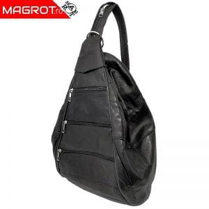 Rucsac / geanta, negru, din piele naturala 37 x 20, Magrot 849